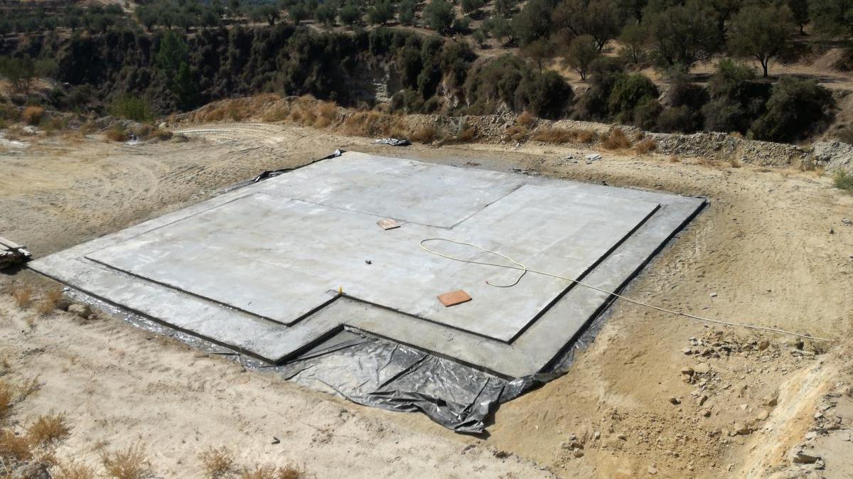 Vista superior cimentación casa de aperos